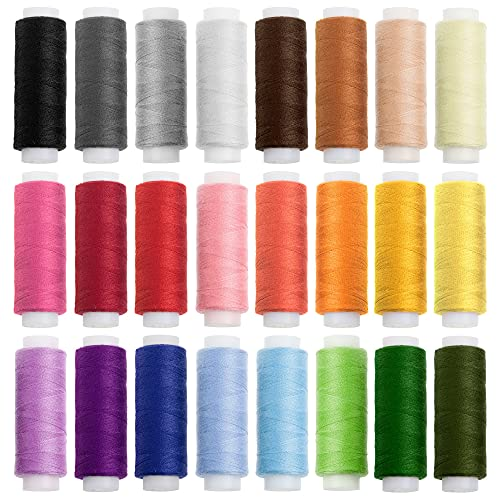 Faden & Nadel Nähgarn-Set: 24 Rollen Nähgarn für die Nähmaschine in verschiedenen Trend- und Standardfarben; aus 100% Polyester; Länge: je 180 m
