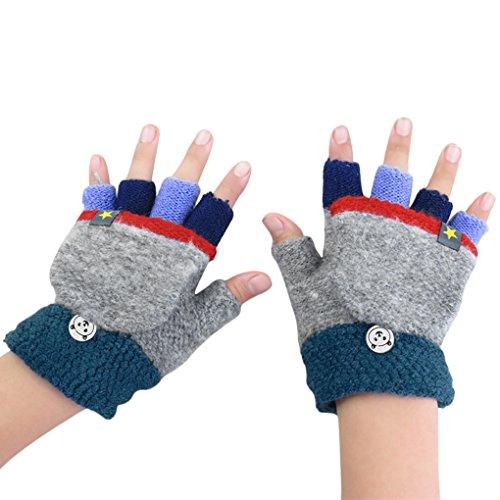 AfinderDE Kinder Fausthandschuhe Mädchen jungen Abnehmbare Klappe Strickhandschuhe Fäustlinge Handschuhe Fingerhandschuhe Fingerlos Halb Handschuhe Strick Handschuhe Winterhandschuhe