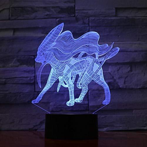 Cartoon 3D Lampe Figur Suicune Aurora Schatz Traum Nachtlicht Led Birne Multicolor Kinder Geschenk Kind Spielzeug Gadget