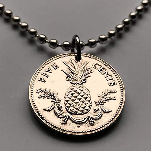 1968 Bahamas 5 Cents coin pendant Bahamian pineapple Nassau Andros Exuma & Cays tropical fruit Cat Island Rum Cay Cable Beach n000116