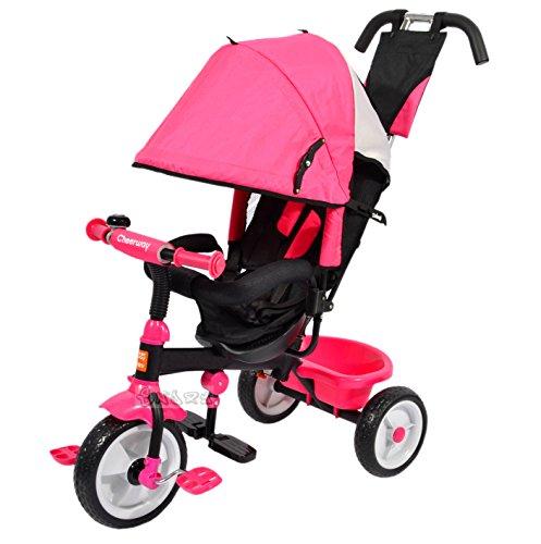 StrMy Trike TRICICLO PASSEGGINO TRIKE CON SEGGIOLINO MODULARE 4 in 1 CRESCE con il tuo bimbo (Rosa)