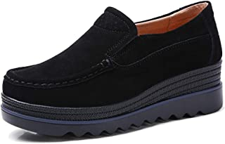 8b535062e8fcf8 HKR Women Platform Slip On Loafers Comfort Suede Moccasins Wide Low Top  Wedge Shoes