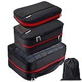 Homealexa Packwürfel Set mit Kompression 4-teilig Wasserabweisende Packtaschen Set & Gepäck Organizer für Rucksack & Koffer | Extra leichte Kleidertaschen