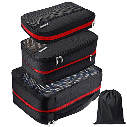 Homealexa Packing Cubes Set with Compression - 4 Piece Water Repellent Packing Bags Set - Luggage Organizer for Backpack & Suitcase Travel | Extra Light Clothes Bags | Travel Luggage Organiser