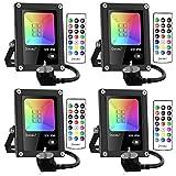 Onforu Foco RGB Led 12w (4 Pack), Foco Colores con Control Remoto, Foco led Interior de Cambio Color, IP66 Impermeable Foco Led Exterior con Temporizador, Función de Memoria para Fiesta Jardín Patio