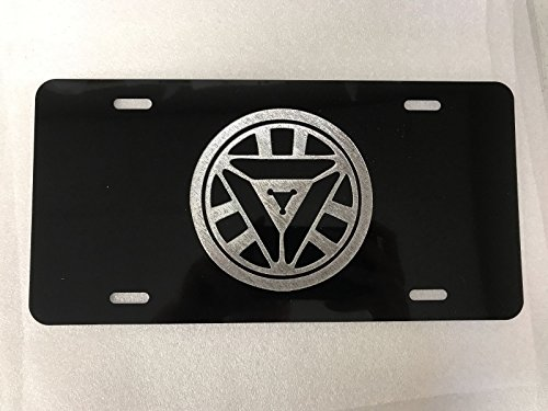 Diamond Etched Ironman Arc Reactor Logo Car Tag on Aluminum License Plate