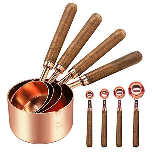 Stainless Steel Measuring Cups and Spoons - Set of 8 Cooper Measuring Cups and Spoons Set with Walnut Wood Handle, Nesting Measuring Cup Set for Dry and Liquid Ingredients (Rose Gold)