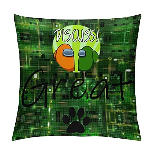 Starolac A-mong Us - Cojín de dibujos animados para sala de estar, sofá o cama, silla de la oficina, almohada lumbar abrazando funda de almohada de 26 x 26 pulgadas
