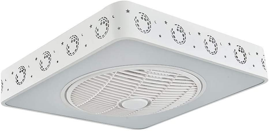 -Luces de Techo Ventilador Ventilador de techo LED con kit de luz, 96W, luz de techo cuadrada moderna, luminaria invisible regulable de montaje empotrado con control remoto , 3 x aspas de ABS, blanco