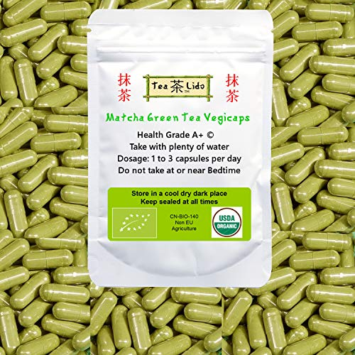 Matcha Green Tea Powder Vegicaps, 90 Capsules, 500mg, Certified Organic, Premium Quality