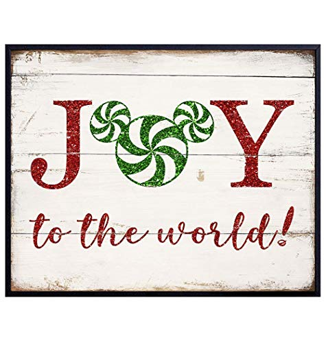 Mickey Mouse Christmas Wall Art Poster Photo Print - Great Rustic Farmhouse Shabby Chic Xmas Decor or Holiday Decorations for Walt Disney Fans - 8x10 Unframed