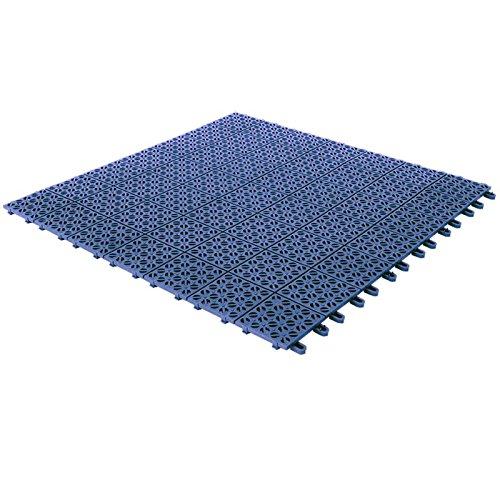 Dalles flexibles en plastique 55,5 x 55,5 cm pour intérieur, extérieur et jardin, Blu, drainant et autobloquante 4 pièces