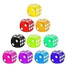 6-Sided Game Dice Set, 10-Pack Transparent Dice Die Translucent Colors Square Corner Dice for DND, MTG, RPG, Tenzi, Yahtze, Bunco, Table Borad Games, Math Teaching (Random Colors,A set of Single Colors)