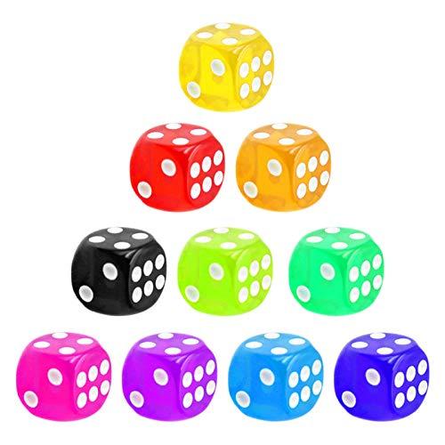 Set da 10 Colori Casuali 16 Mm Dadi da Gioco 6 Facce Set di Dadi Trasparenti Dadi da Tavolo per Giochi da Tavolo Borad, Insegnamento di Matematica