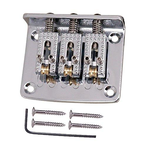 Satz Guitar Roller Sattel Bridge Saitenhalter Ersatzzubehör für 3-saitige E-Gitarre - Silber