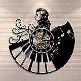 Nzlazbc Vinyl Record Wall Clock Home Decor Piano Retro Wall Watch Musical Musician Music Teachers Pianist Gift