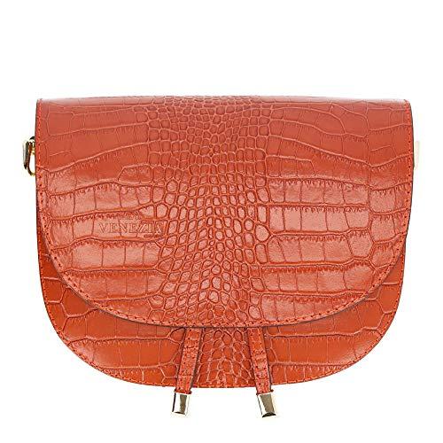Marco VENEZIA Damen Handtasche Leder ARIA - Hochwertige Umhängetasche aus echtem Leder, Made in Italy (Orange)