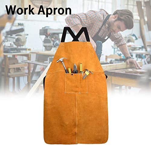 WE-WIN Leder Schweißschürze mit Taschen - Heavy Duty Tools Shop Arbeit Schürze