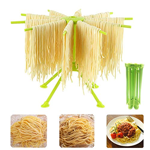 Sifenma Nudeltrockner, frische Nudeln, zusammenklappbar, Spaghetti-Trockengestell mit 10 Griffen, für Zuhause und Küche (grün)