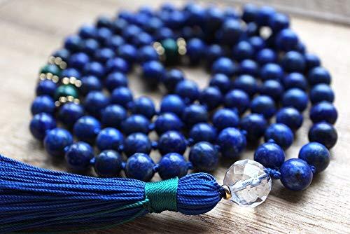 YANGYANG Lapis Lazulibeads Anudado a Mano 108 Collar Joyas de meditación Collar de oración Joyas de Yoga Collares con borlas-Default