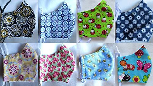 Damen+Kinder Behelfsmaske Happy mit Filtertasche, Vlies und Nasenbügel, Mundschutz waschbar 60°, Maske in 4 Größen