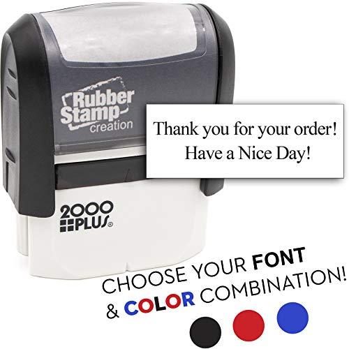 2 Line Custom Self Inking Rubber Stamp - Choose Your Font & Color!