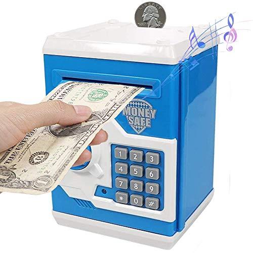 PowerKing Hucha, Caja de Ahorro Segura de Hucha de cajero automático de Dibujos Animados electrónica - Caja de Monedas de contraseña de Ahorro de Dinero del Banco de Dinero para niños (ATM Azul)