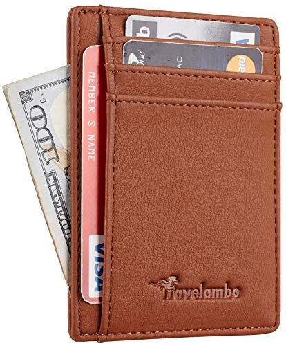 Travelambo Front Pocket Minimalist Leather Slim Wallet RFID Blocking Medium Size(VP Brown)