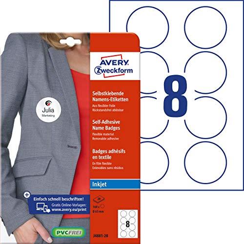 Avery Zweckform Namensetiketten (160 Namensaufkleber, Ø 65 mm auf DIN A4, selbstklebend, bedruckbare Textiletiketten für Inkjetdrucker, rückstandsfrei ablösbar, rund, 20 Bogen J4881-20) weiß