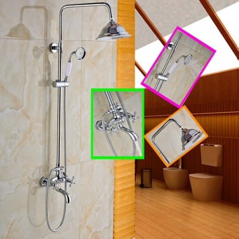 Maifeini The Rainfall In Modern Polished Chrome Bathroom Shower Mixer Dual Handles Wall Mount, Clearing