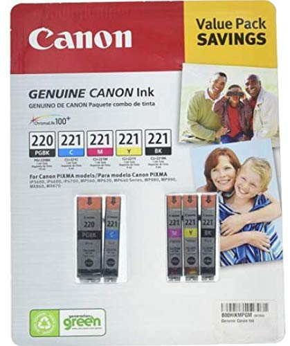 Genuine Canon PGi-220 Black and Cli-221 4-Color Bulk Packaging