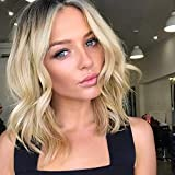 AISI HAIR Ombre Blonde Short Wavy Bob Wig for Women Short Wavy Wig Synthetic Hair Wigs For Dailiy Used (Ombre Blonde)