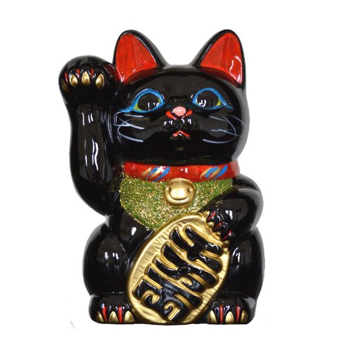 Fabricado en Japón de gato 19,05cm Tokoname porcelana negro Maneki Neko mano derecha