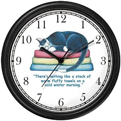 Black & White Cat Sleeping on Towels - Cat Cartoon or Comic - JP Animal Wall Clock by WatchBuddy Timepieces (Black Frame)