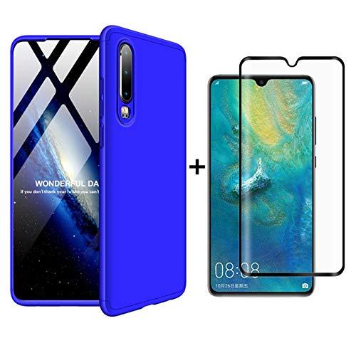 JOYTAG Kompatibel Huawei P30 Hülle 360 Grad Blau + Hartglas Glasfilm Schutzfolie Ultra dünn Alles inklusive Schutz 3 in 1 PC Telefon Cover case-Blau