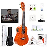 Electric Ukulele With Equalize 23 Inch Concert Ukelele Solid Mahogany Uke For Professional Player With Ukele Beginner Kit (Gig Bag, Picks, Strap, String, Cleaning Cloth, Starter Manual)