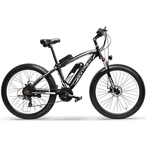 Extrbici Xf660 500 W/48 V 1000 W Bicicletta elettrica 26'X4.0 Big Shimano Cambio Bicicletta Neve Beacn velocità di Viaggio 7/21 Mountain Bike Ebike Disco Freno, Blau 1000W