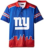 Foco mens NFL Polyester Short Sleeve Thematic Polo Shirt BLUE, New York Giants