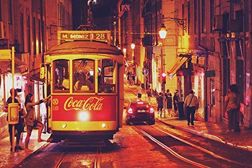 LFNSTXT Rompecabezas para adultos, 1000 piezas, Coca-Cola Portugal Lisboa Tranvía Calle Noche Rompecabezas para adultos, familias y niños. Juego educativo Decoración del hogar (27.6 x 19.6 pulgadas)
