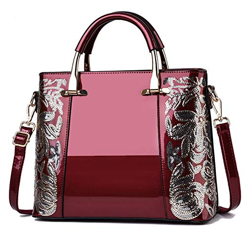 Women's Handbags Fashion High Capacity Patent Leather Casual Cross-Body Top-Handle, Women's Embroidered Sequin Hand Bag, Bright Patent Leather Hand Bag, Fashion Ladies Bag Shoulder Bag