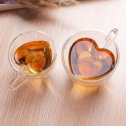 tazze da caff/è in vetro trasparente tazza da caff/è ELIAUK Tazza da caff/è in vetro a forma di cuore doppia parete isolata