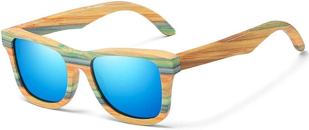 JKNK Lunettes de soleil en bambou en bois de planche à roulettes de mode polarisées pour les femmes Designer lunettes de soleil en bois Uv400 Bleu