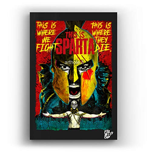 Leonidas de la pelicula 300 de Zack Snyder - Pintura Enmarcado Original, Imagen Pop-Art, Impresion Poster, Impresion en Lienzo, Cuadro, Comics, Cartel de la Pelicula