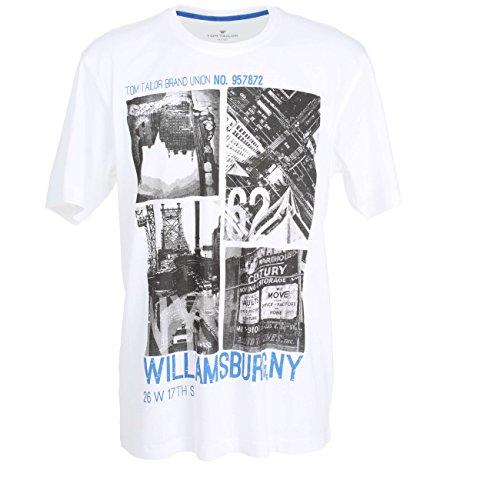 TOM TAILOR Herren T-Shirt, Kurzarm, Baumwolle, Single Jersey, weiß, Bedruckt 52