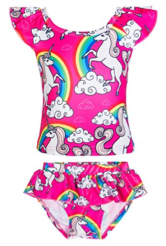 KABETY Girls Rainbow Unicorn Swimsuit Two Pieces Swimwear Bathing Suit Bikinis (Pink, 5)