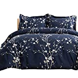 Bedsure Duvet Cover Set King Navy Plum Blossom Pattern Comforter Cover 3 Pieces(104x90 inches) Soft Microfiber