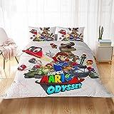 WYWZDQ - Juego de cama para niños, diseño de Super Mario, con edredón y funda de almohada, 100 % microfibra, impresión digital 3D (D15,200 x 200 cm)