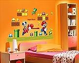 Super Mario Bros Desmontable Pegatinas de pared Calcomanía Decoración para el hogar para niños