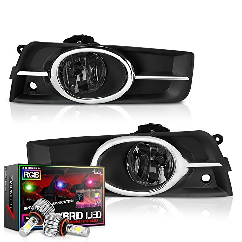 VIPMOTOZ Chrome Smoke OE-Style Front Fog Light Driving Lamp Assembly For 2011-2015 Chevy Cruze & Limited Model - Built-In Rainbow RGB LED Bulbs, Driver & Passenger Side