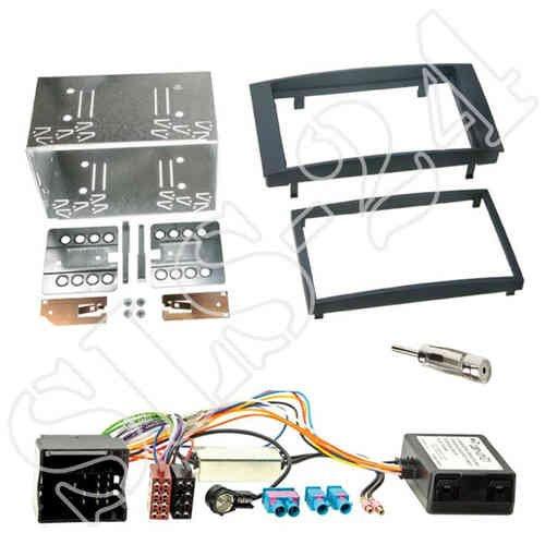 Autoradio Doppel 2-DIN Blende Radioblende schwarz + CAN-Bus Quadlock - ISO Interface/Radio Adapter Adapterkabel für VW Volkswagen Touareg (7L) 01/2003->2010 T5 Multivan Caravelle Transporter